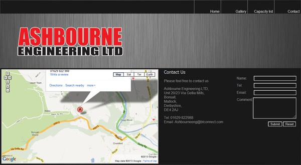 Ashbourne Engineering Contact Us Page
