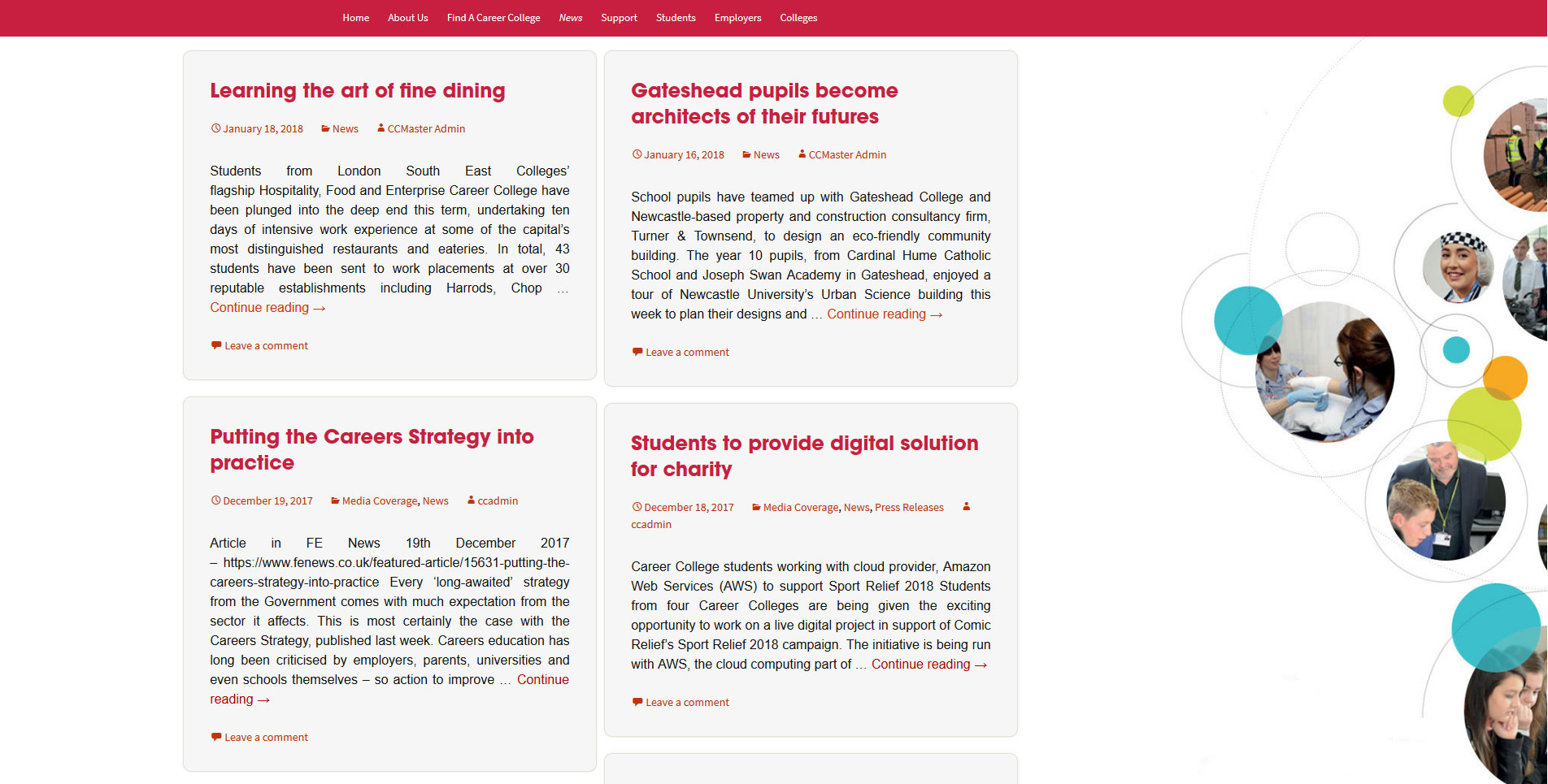 Careercolleges.org.uk Website Blog Page