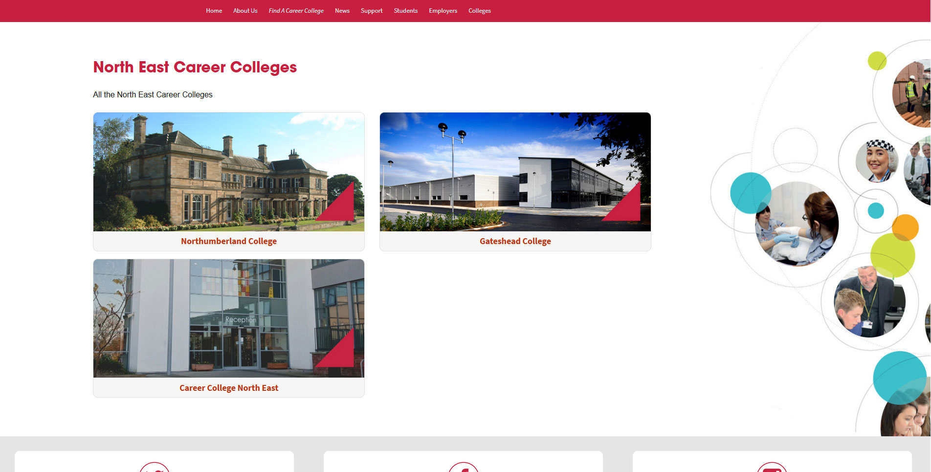Careercolleges.org.uk Website Colleges Page