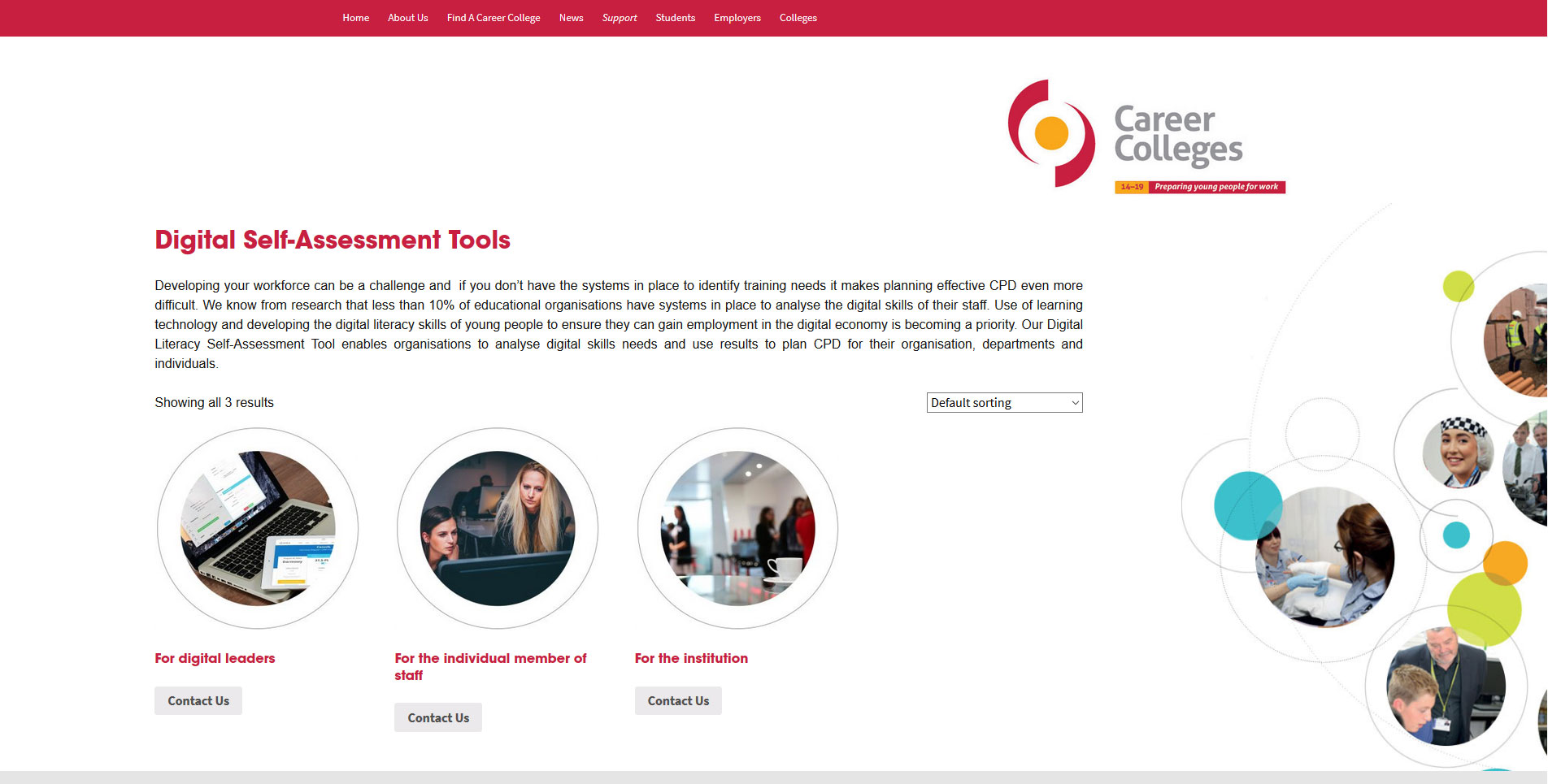 Careercolleges.org.uk Website eCommerce Page