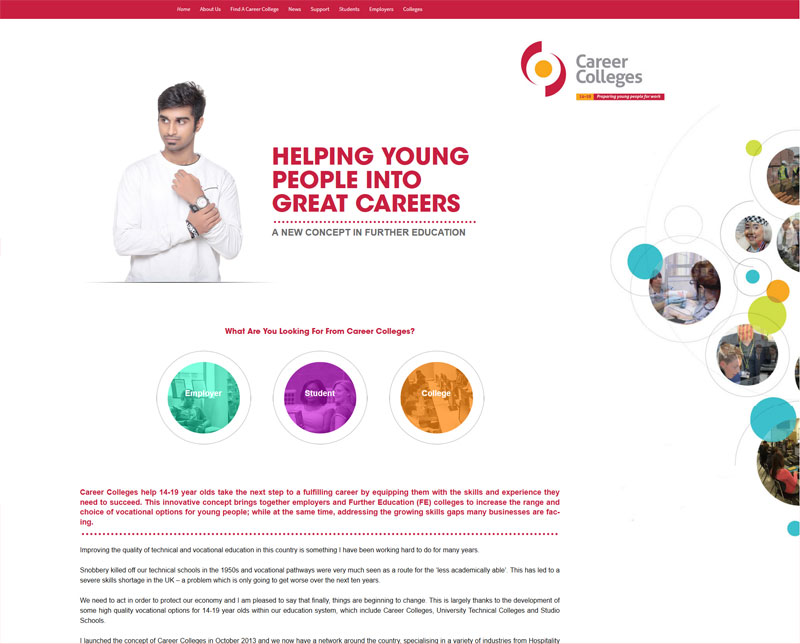 Careercolleges.org.uk Website Design Project