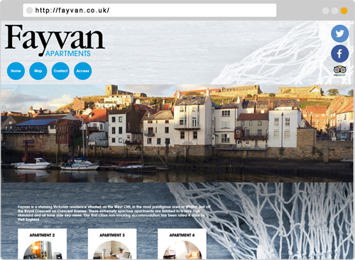 Fayvan Apartments in Whitby Hotel Website Design