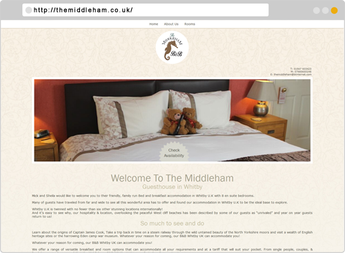 The Middleham Guesthouse in Whitby Hotel Website Design